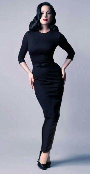 96e8c44c613 Dita Von Teese wearing a long tight hobble dress