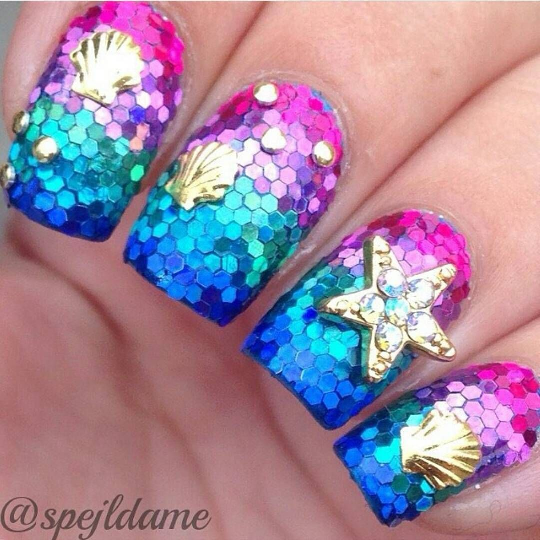 Buff and Polish, Bedazzled Glitter Ocean Mermaid nails! Using hex ...