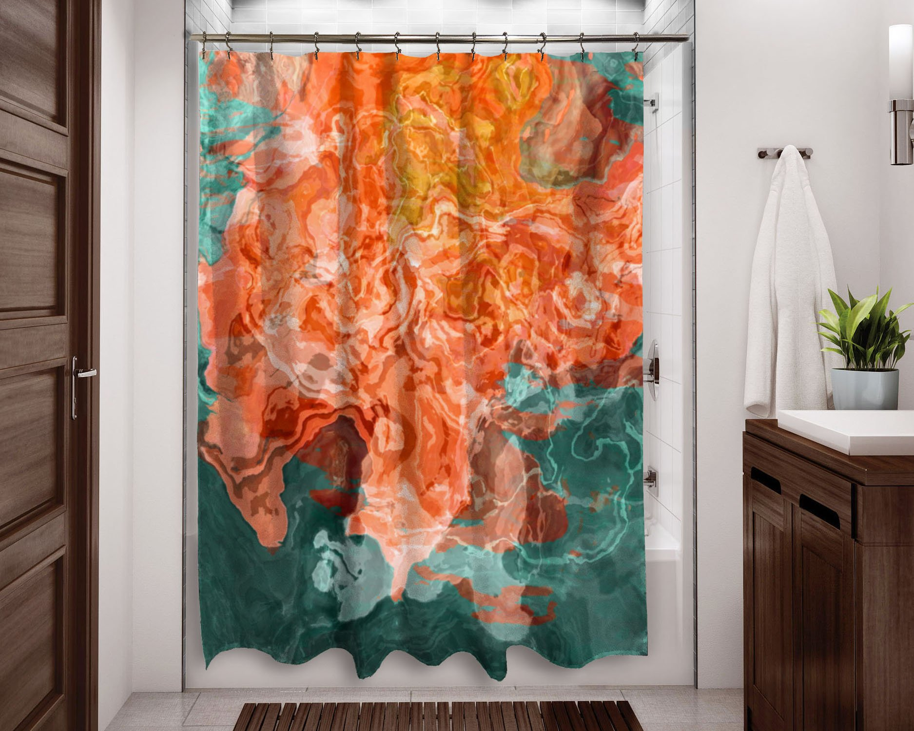 Shower Curtain Coral Reef Abstract Art Shower Curtain