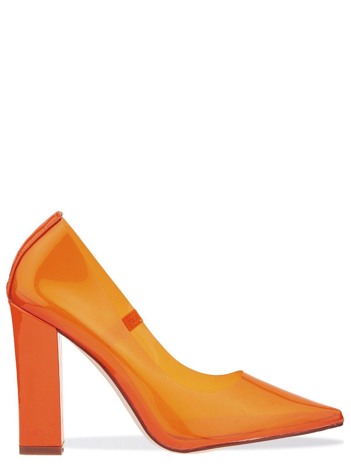 62246dc9112a Patent Block Heel Perspex Court Shoe In Orange | PERSPEX | Shoes ...