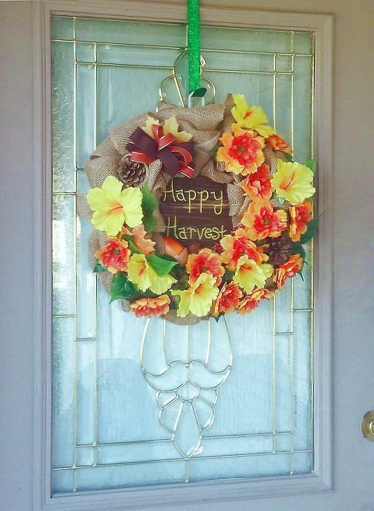 Photo of Autumn wreath with flowers, autumn wreath for the front door, autumn wreath with sign, Happy Harvest sign, autumn wreath burlap, flower wreath for autumn