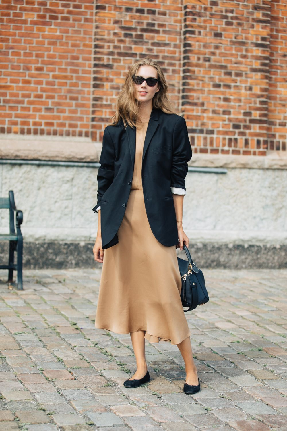 How to Wear a Silk Slip Dress Through Fall – Street Style Blazer ...