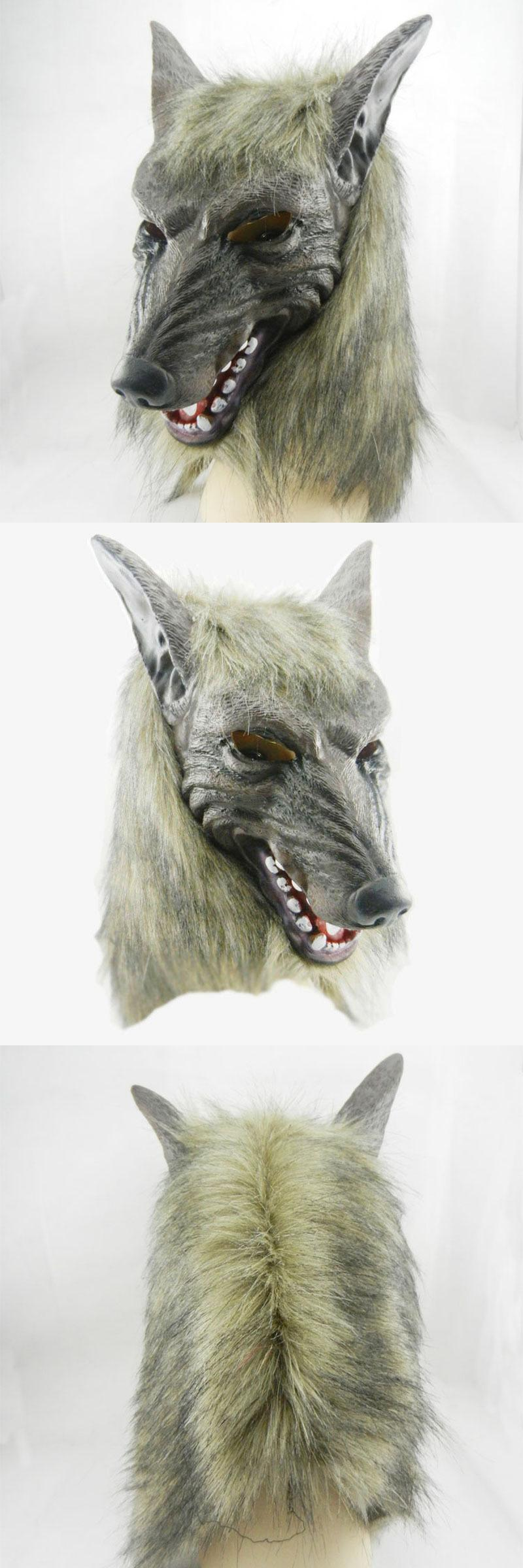 Visit to Buy] New Wolf Mask Creepy Halloween Costume Fur Mane ...