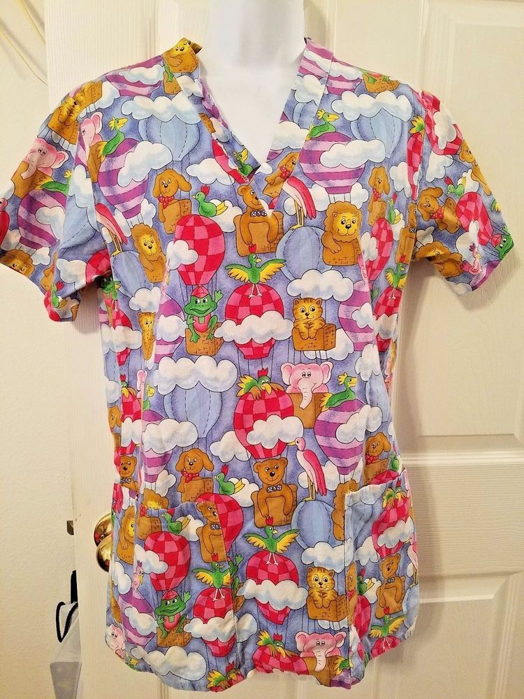 721716bb3d86b Womens Size XS Scrub UniformTop Animals in Balloons Multicolor LOS ANGELES  ROSE #LosAngelesRose, #scrubtops, #scrubuniform, #uniform,  #medicalscrubtop, ...