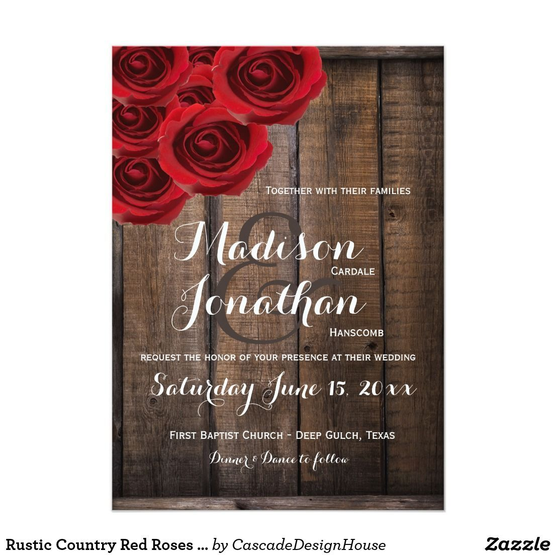 Rustic Country Red Roses Wood Wedding Invitations ...