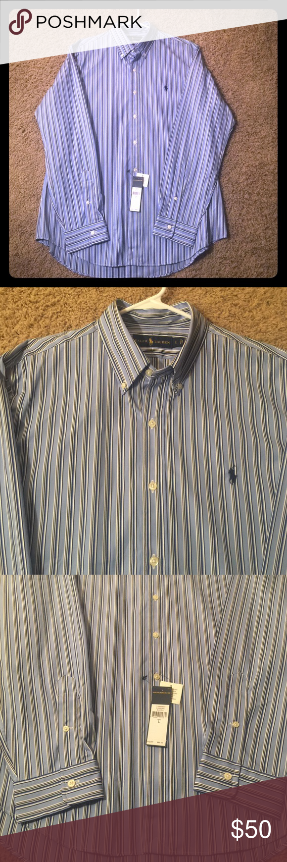 Brand NEW Men's Ralph Lauren Dress Shirt👔 Brand NEW! Tags still attached! Men's Ralph Lauren Striped Dress Shirt. Size Large! Color: BLUE/RYL. Purchased from Dillard's for my husband for $90 but he doesn't care for the stripes🙄 and I no longer have the receipt! SO it is in need of an owner who will wear it👱🏻👔 Ralph Lauren Shirts Dress Shirts
