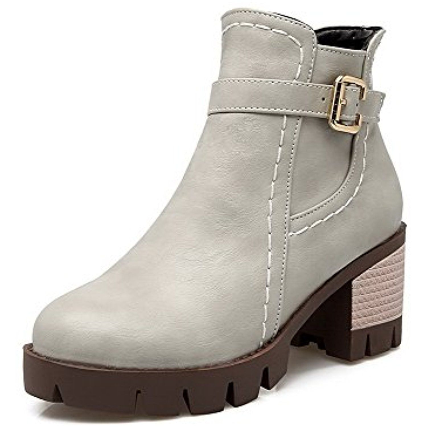 Women's Kitten-Heels Solid Round Closed Toe Soft Material Zipper Boots with Metal