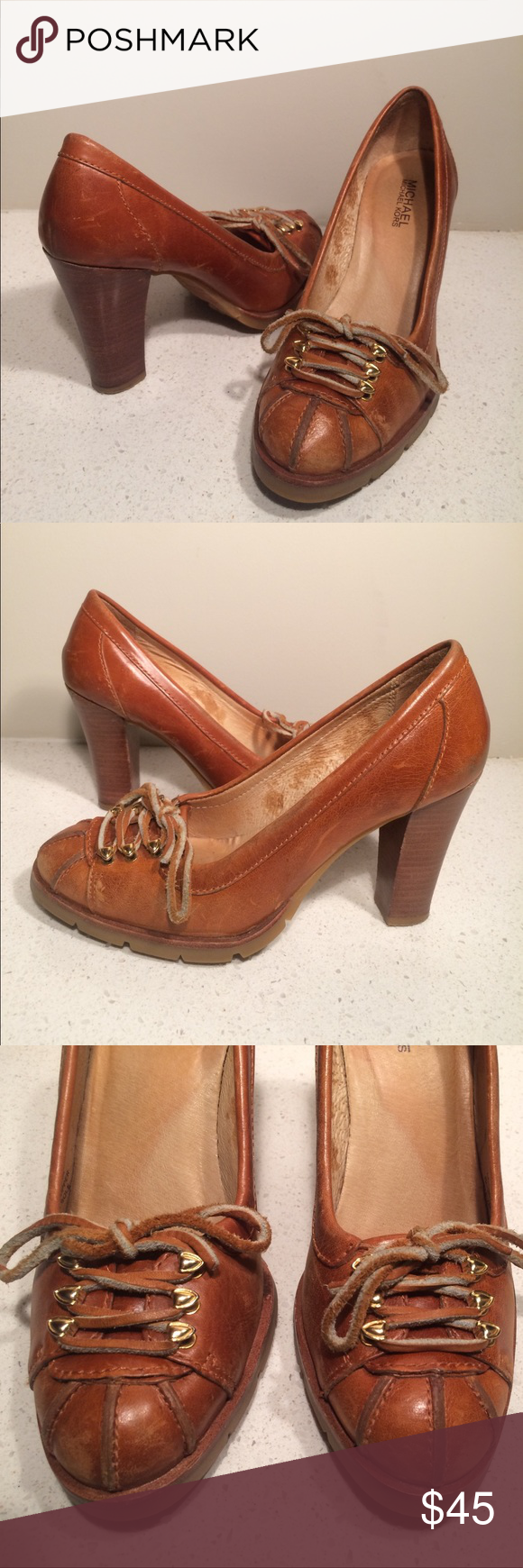 f769ab33c5c4b Michael Kors Lace Up Leather Kitty Heels Well loved with a few scratches  here and there