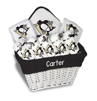 Our Personalized Pittsburgh Penguins Large Gift Basket is a perfect baby gift with 5 burp cloths 2 bibs and a towel personalized with the Penguins logo.