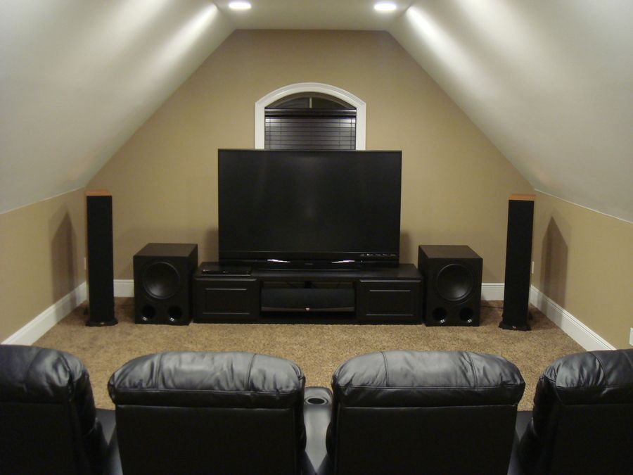 Nezff S Home Theater Gallery New And Improved 36 Photos Living Room Theaters Home Theater Rooms Attic Renovation