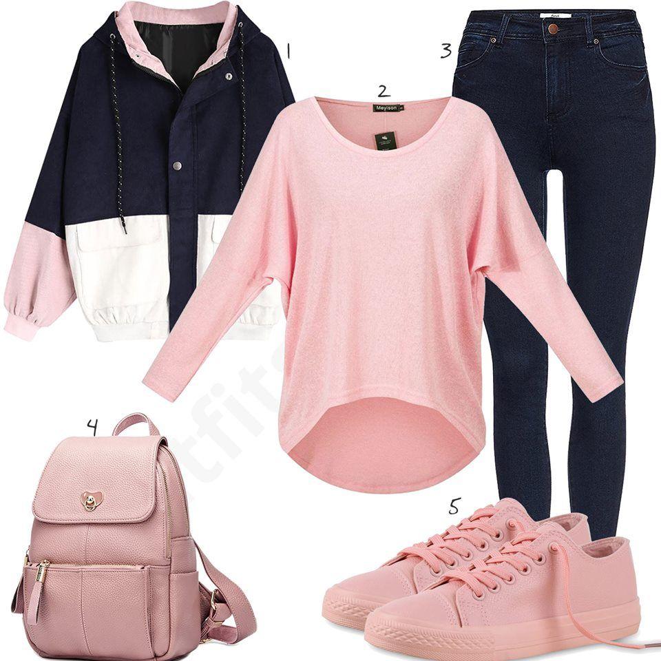 rosa jacke dunkelblaue jeans