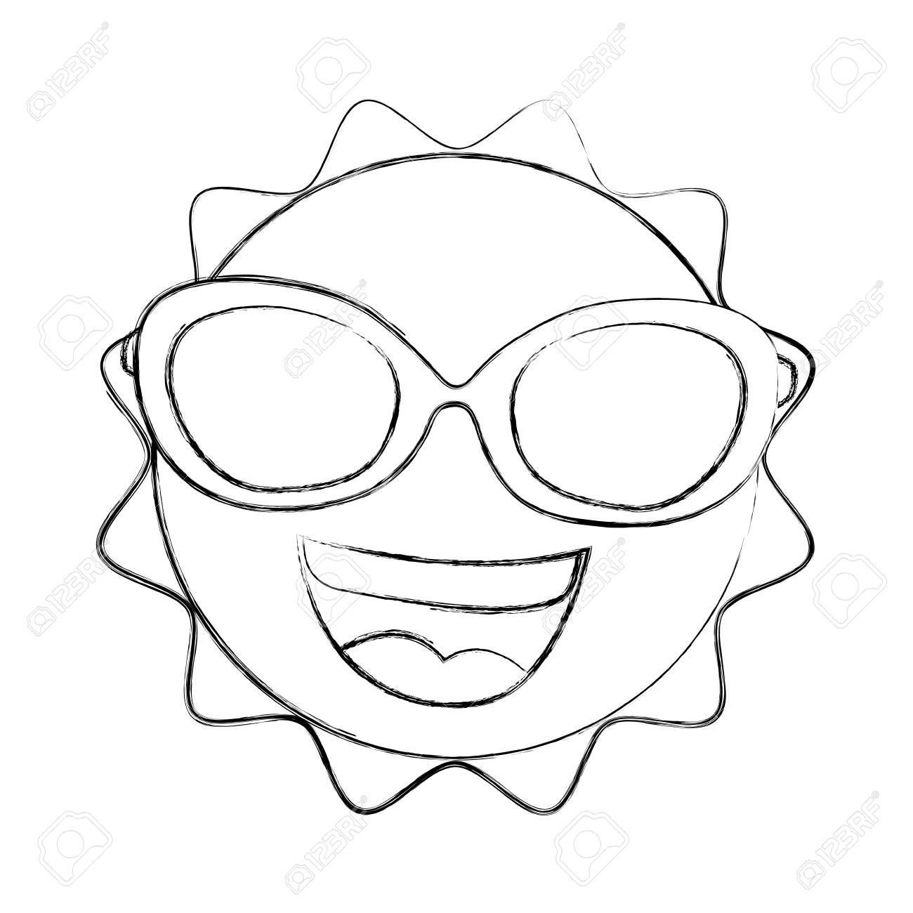 summer sun with sunglasses kawaii character vector illustration design ,