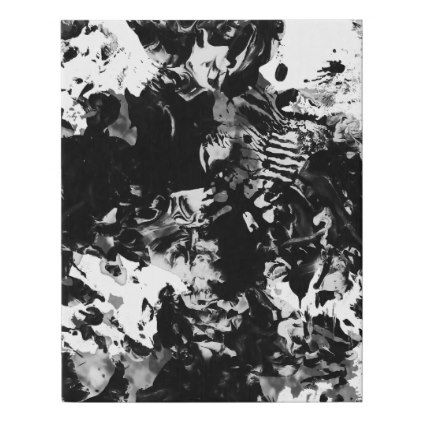 Modern abstract black white acrylic paint marble faux canvas print