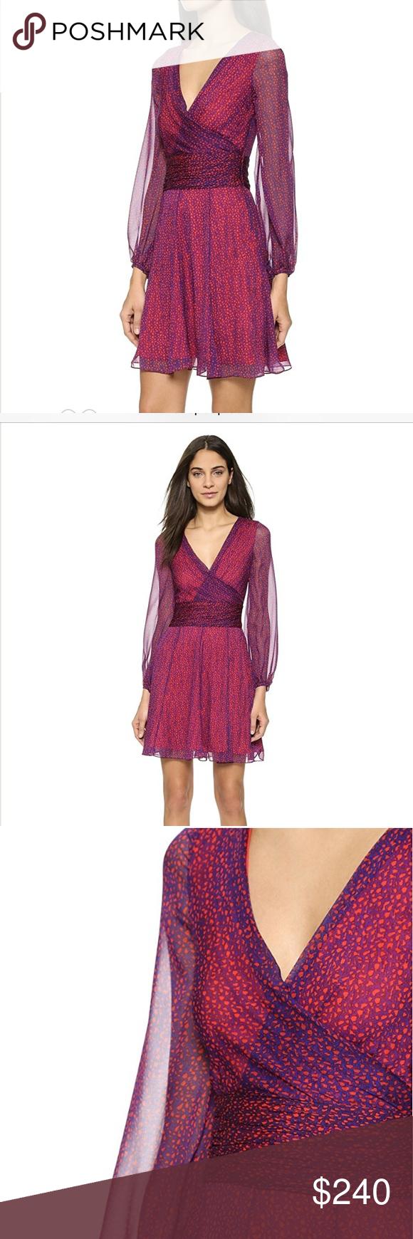 Sale dvf ashlyn red and blue silk wrap dress my posh picks