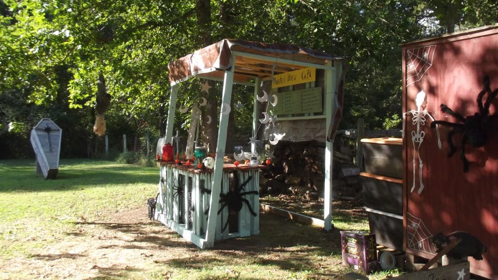 Side view of my monster brew cafe bar that he made me this year, with the coffin in the background from last year!