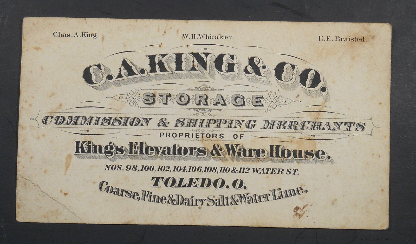 1880s C.A. King\'s Grain Elevators Victorian Business Card Toledo ...