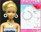 barbie dolls jewelry set natural shell necklace and earring for barbie dolls