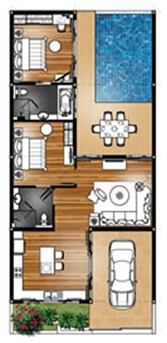 Master Plan Villa Type A   Architectural floor plans, Pool ...