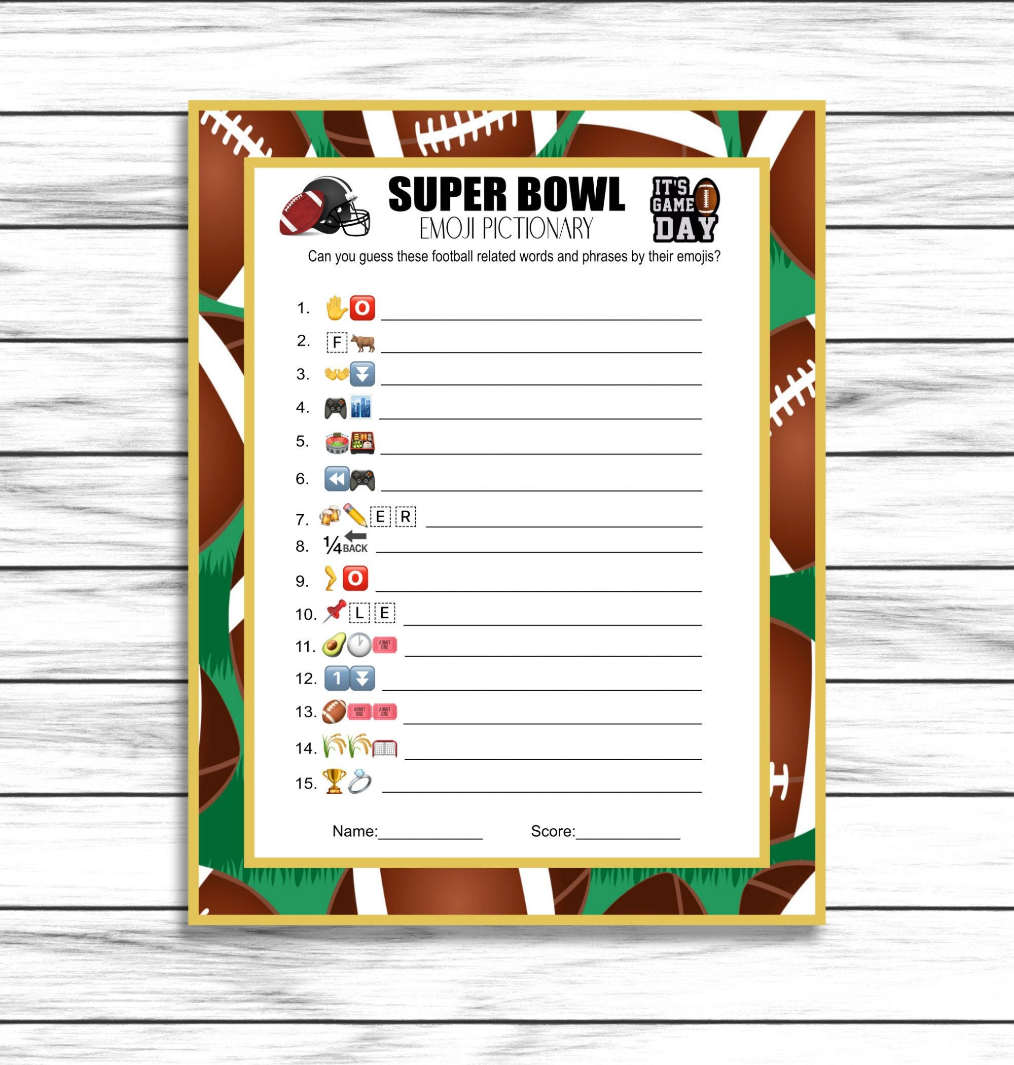 Super Bowl Game Super Bowl Emoji Pictionary Football Party Etsy In 2020 Superbowl Game Bowl Game Football Party Games