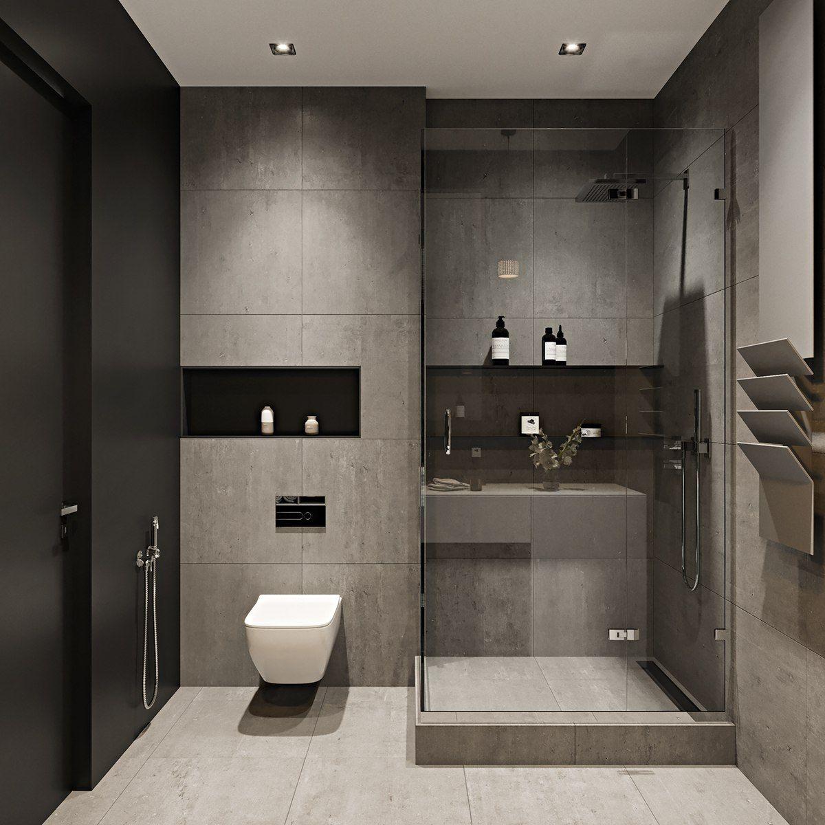 Concrete Tiles Betoninės Plytelės Bathroom Interior Vonios