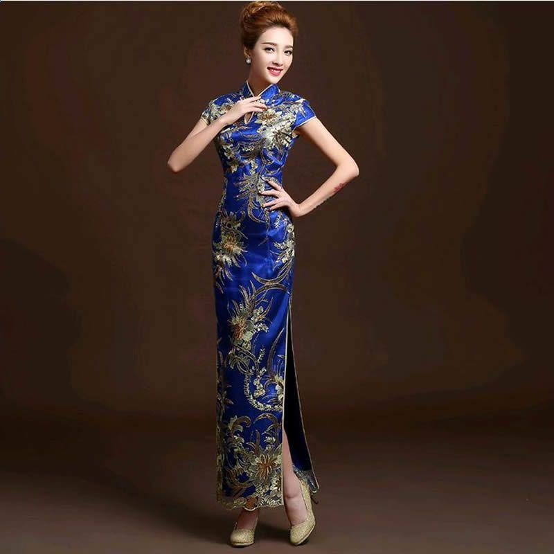 11fd7ff4a6a7 2016 módní červená krajka nevěsta svatební Qipao dlouhé Cheongsam čínské  tradiční šaty tenký retro Qi Pao ženy starožitné šaty