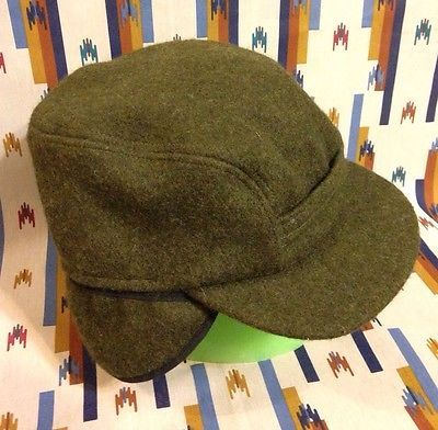 Vintage Mens CC FILSON Olive Green Wool Hunting Hat Cap Ear Flap Sz Medium cbe1cb9ff283
