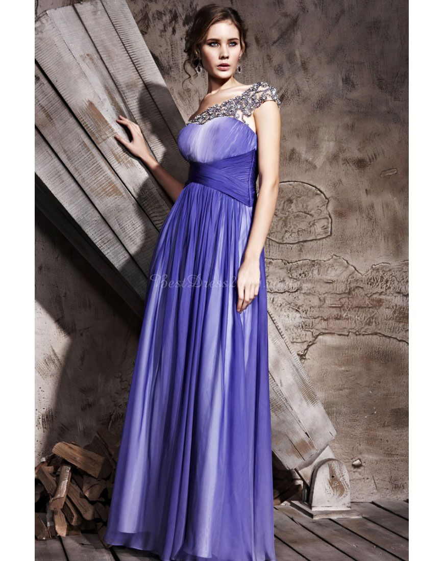 Long one shoulder tencel applique empire crystals evening dress
