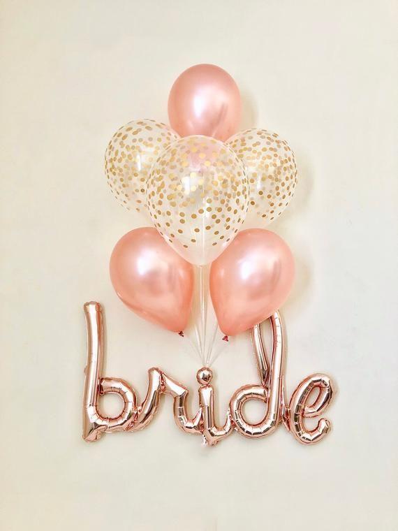 Bride Rose Gold Script Balloon~Rose Gold Balloons~Wedding Shower Decor~Gold Confetti Balloon~Bridal