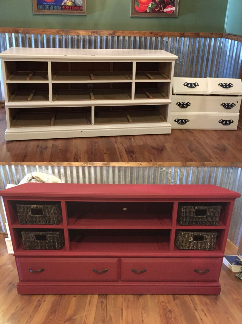 Ordinaire Old Dresser Into TV Cabinet With Chalk Paint   Annie Sloan Burgundy.