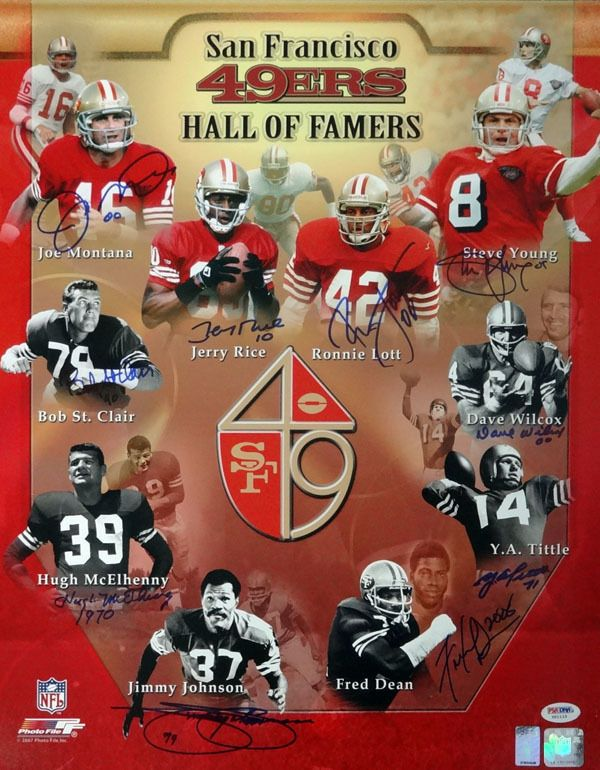 2f9f1211838 SF 49ers Hall of Famers Autographed 16x20 Photo