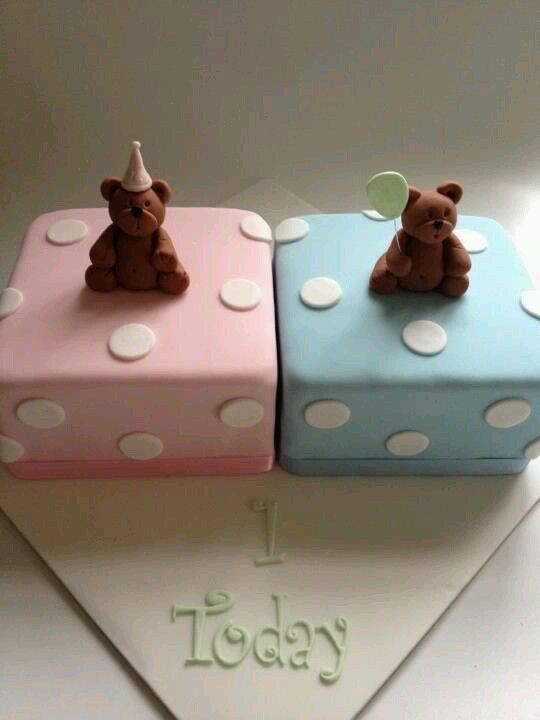 Birthday cake for twins bautismo melis Pinterest Birthday