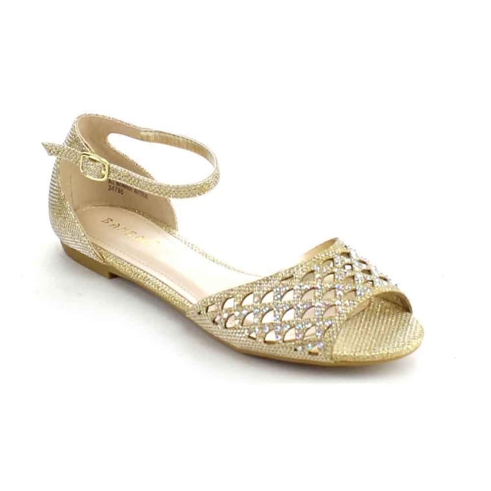 6bb2c1f45c93de Bamboo Lynda-46 Women s Glittering Rhinestone Cut Out Ankle Strap Flat  Sandals