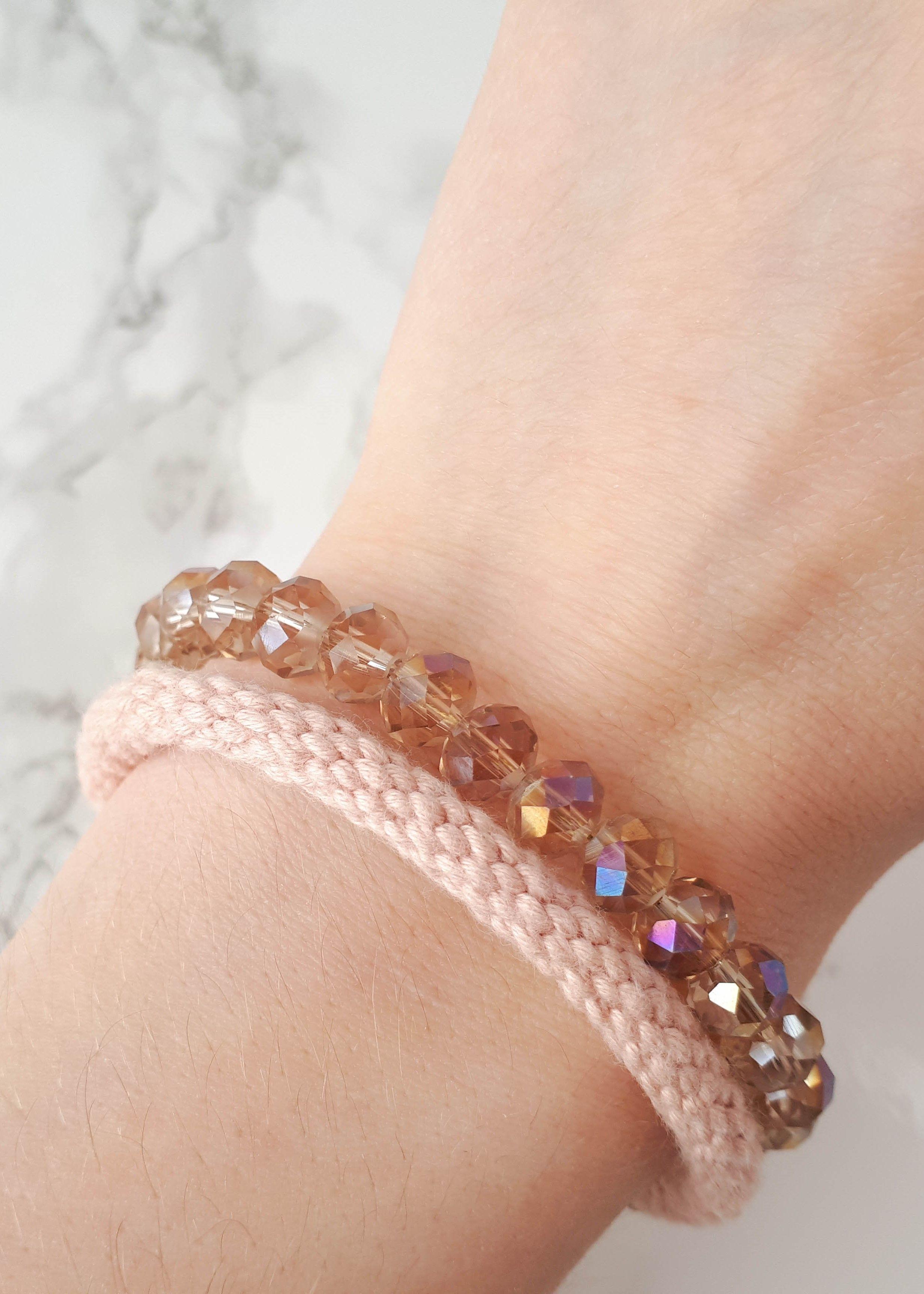 Pink rope bracelet multi strand bracelet for women blush bracelet
