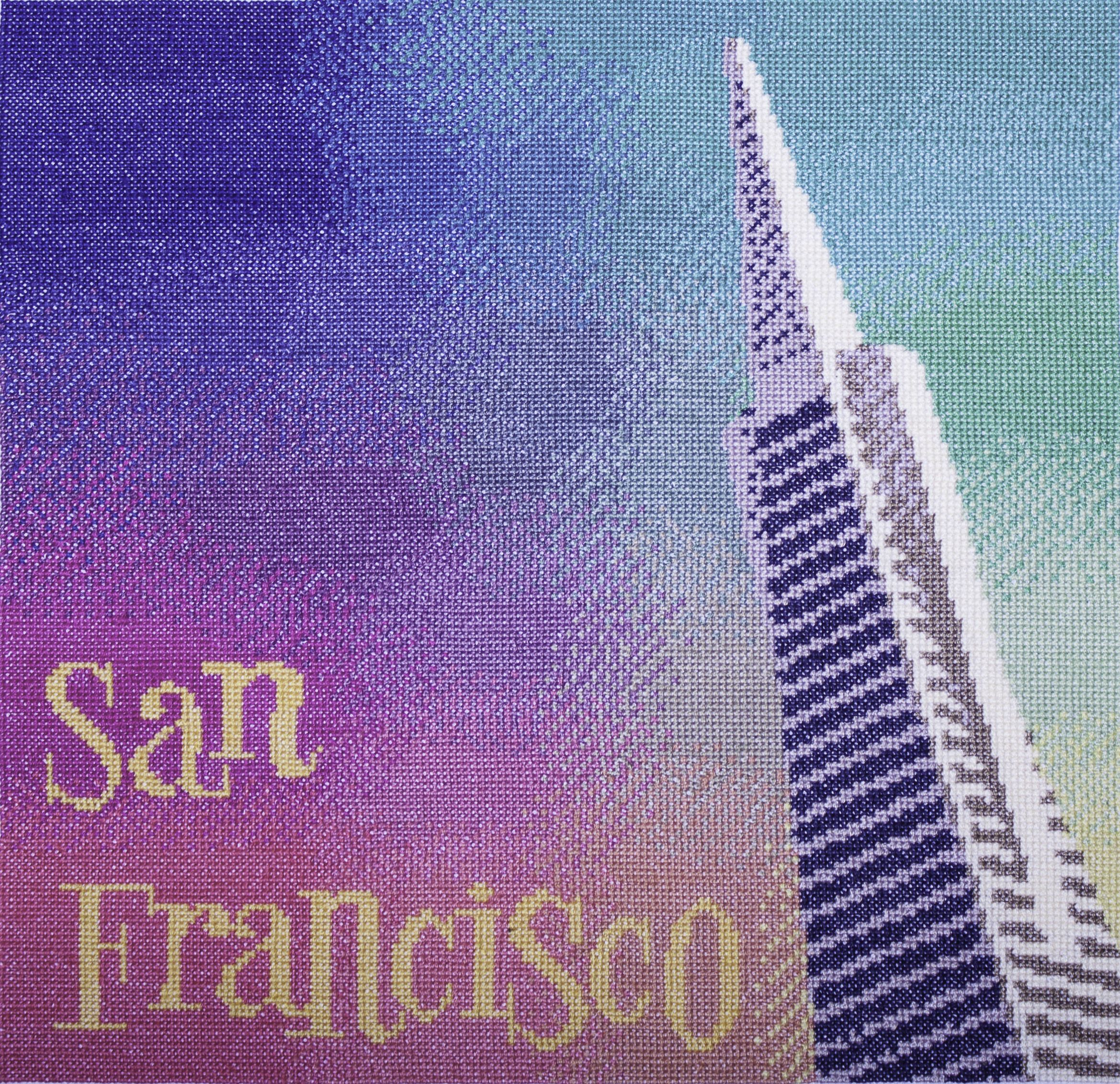 Colourful 14 count cross stitch kit capturing the vibrancy of San Francisco