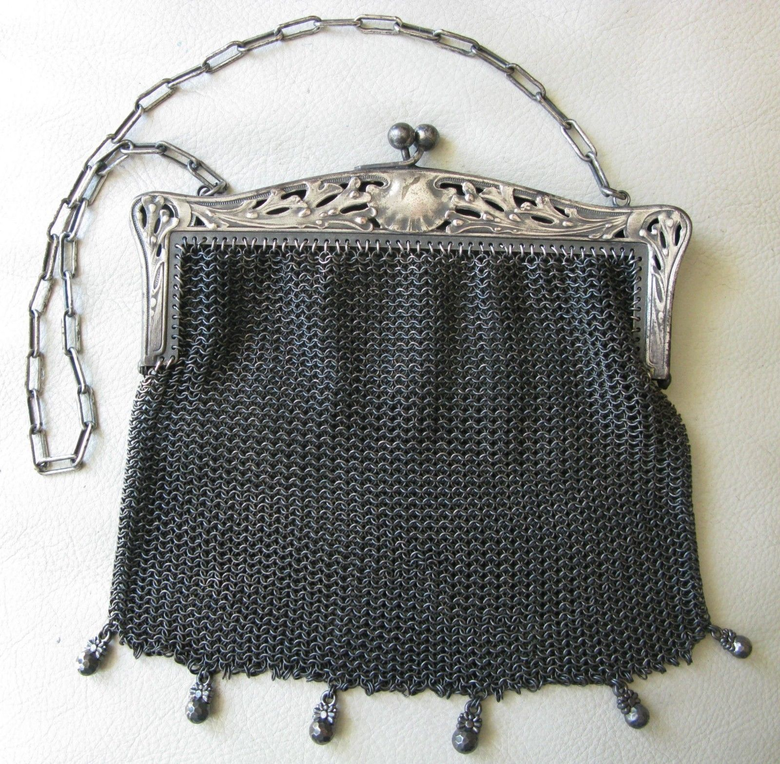 Antiques Antique Tan Geometric Crochet Knit Lime Green Bead Ball Handle Flapper Purse Vintage