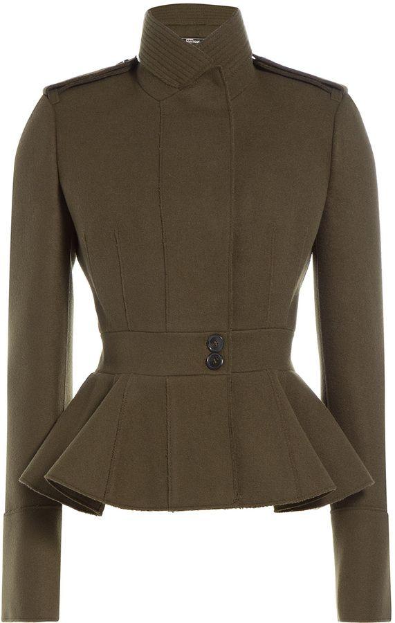 82aae9c9779a Alexander McQueen Military-Inspired Wool Peplum Jacket