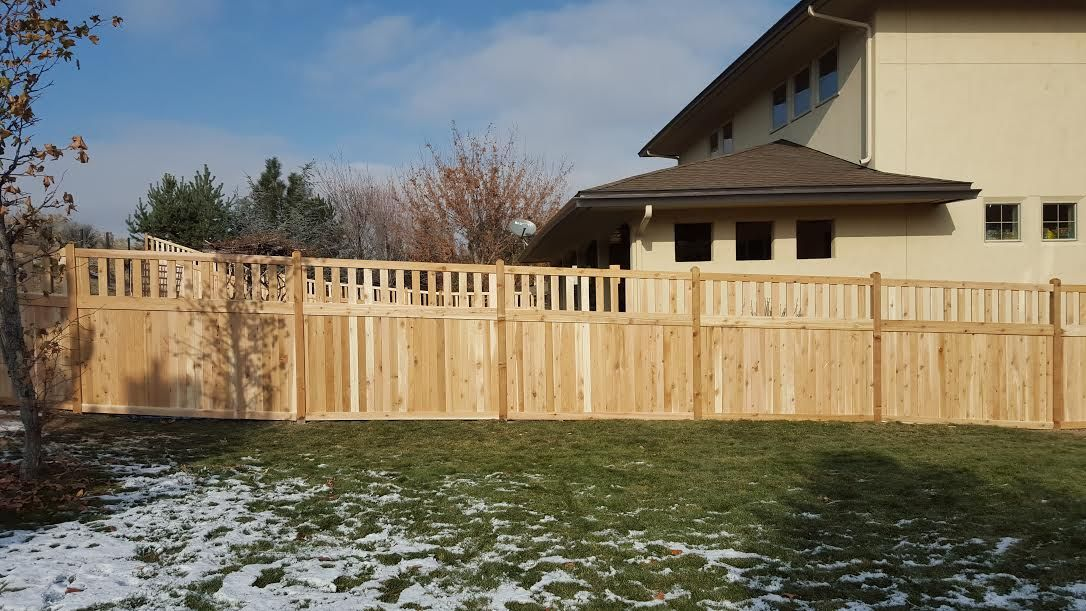 Hidden springs-style cedar wood fence installed by Frontier Fence