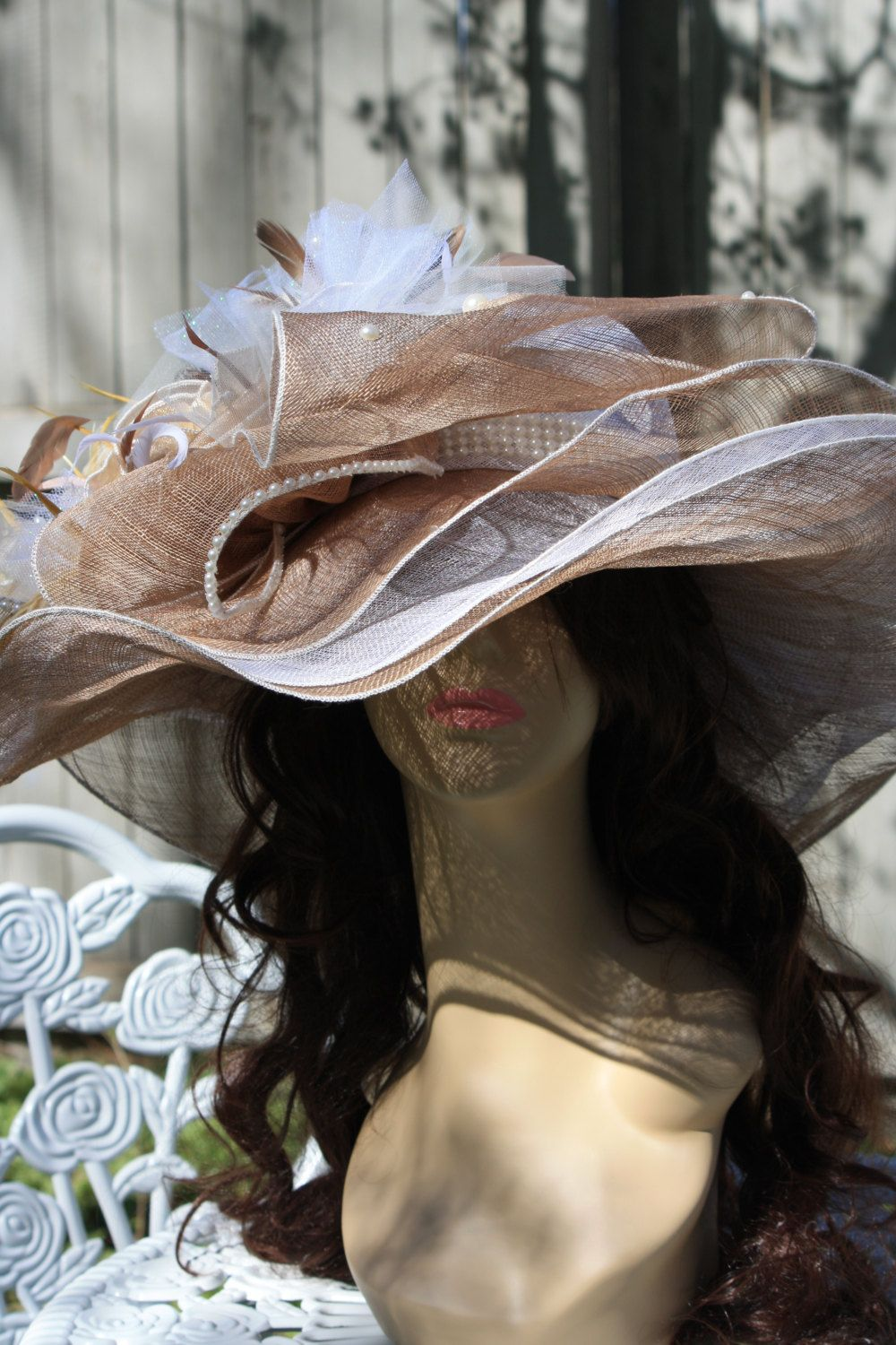 Kentucky Derby Hat Women s Hats Church Special Occasion Hats Tan Ivory  White 100% Sinama FREE SHIPPING by TheGlitterboxLC on Etsy b9662e1ac5a