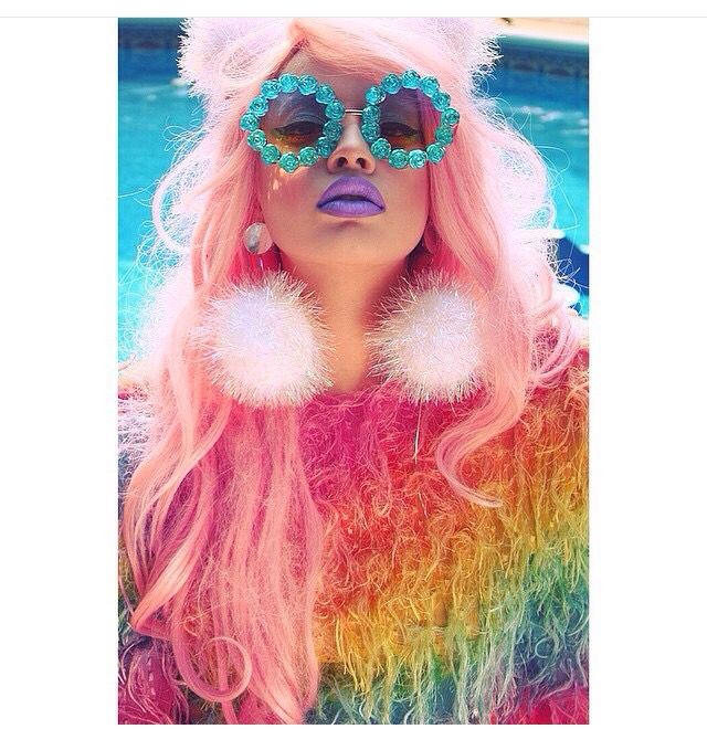 Unicorn wig hair make up makeup photoshoot selfie rainbow ...