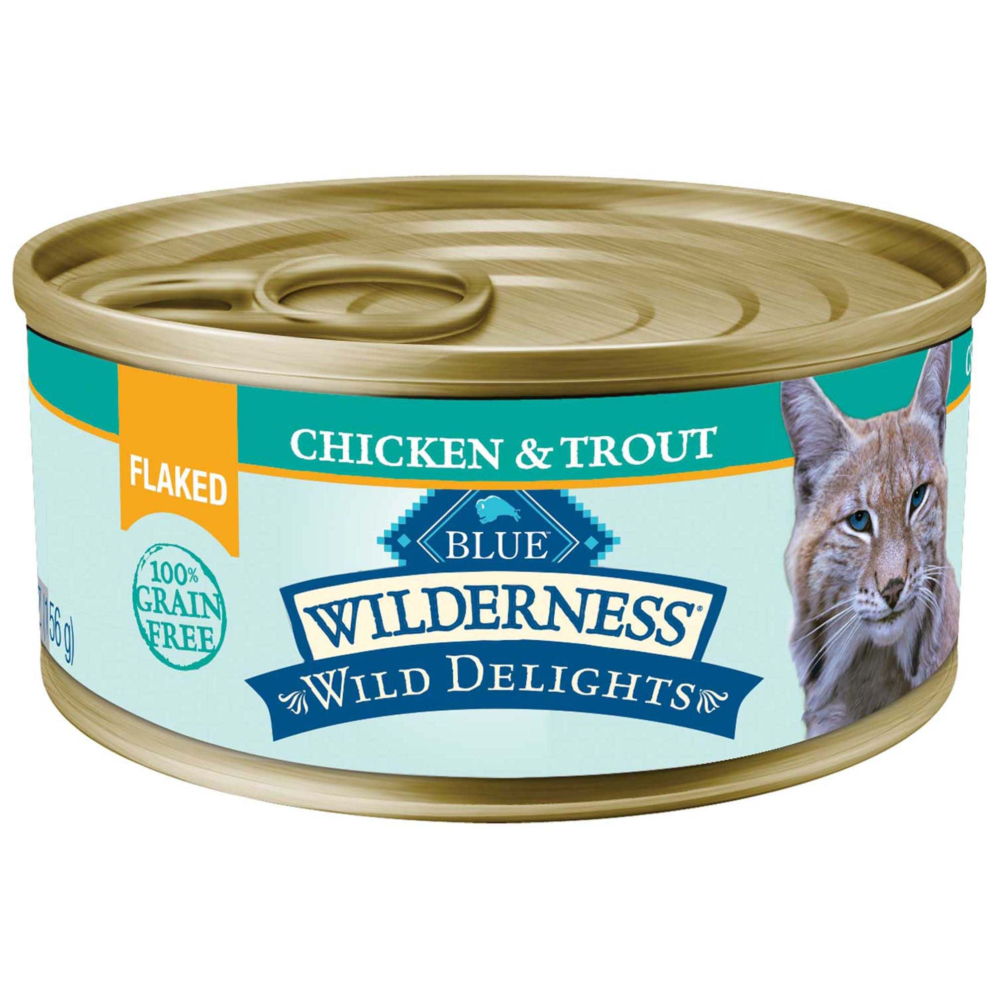 Blue Buffalo Blue Wilderness Wild Delights Flaked Chicken Trout Recipe Wet Cat Food 5 5 Oz Case Of 24 24 X 5 5 Oz In 2020 Canned Cat Food Trout Recipes Cat Food
