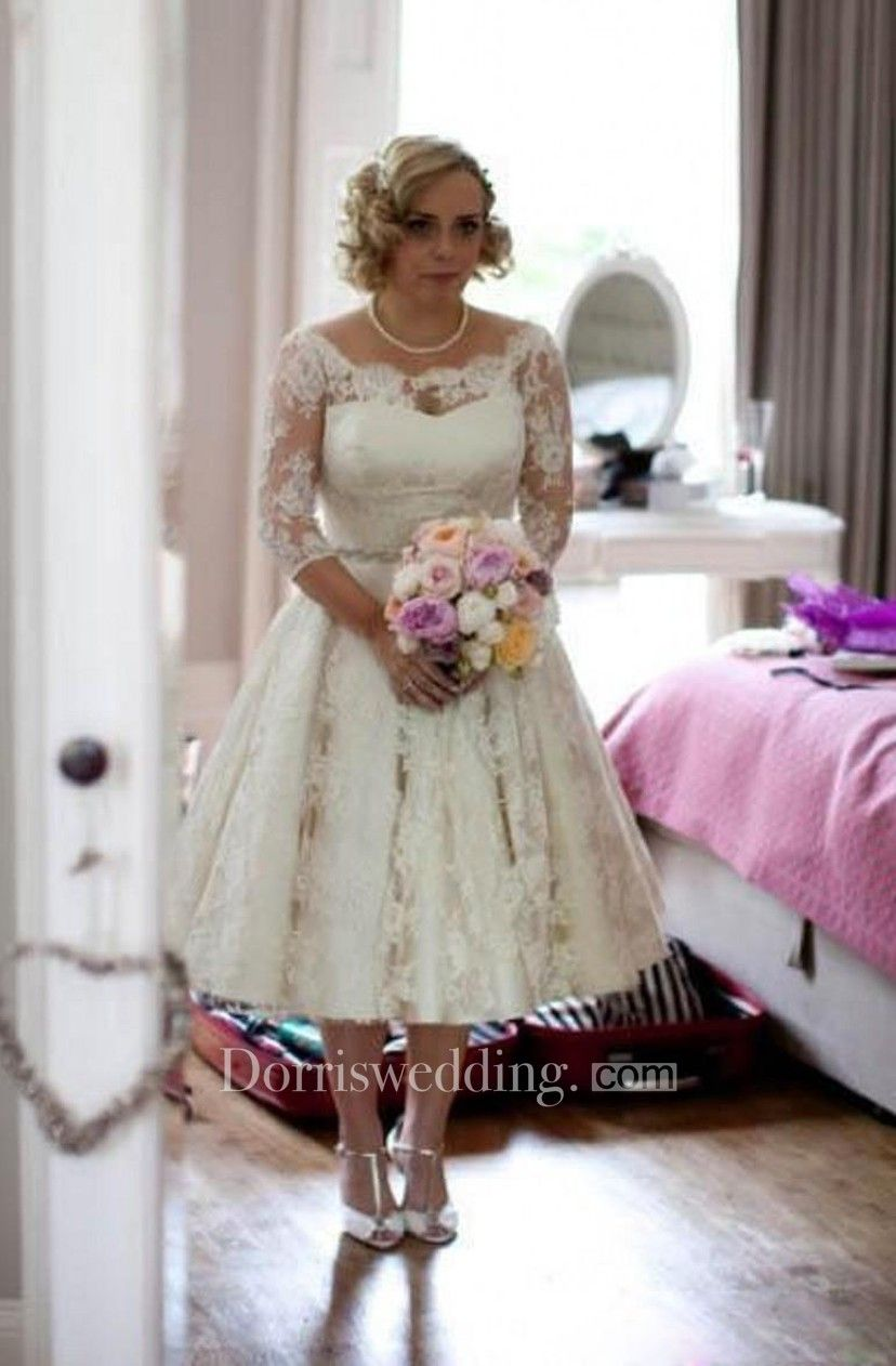 Plus size lace scoop illusion half long sleeve tea length wedding