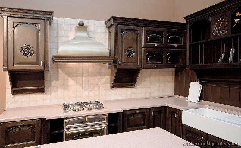Dark Mahogany Kitchen Cabinets Walnut Colour Wood Italian Kitchen Design Kitchen Design Traditional Kitchen Design