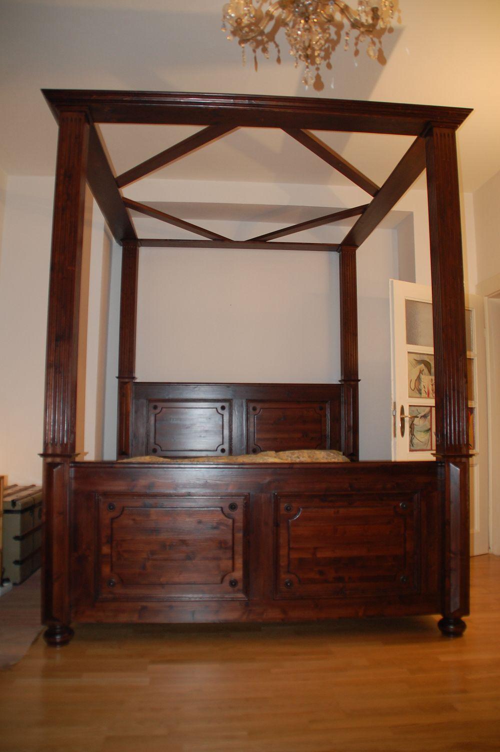 Landhausbett Im Stil Der Gründerzeit Aus Weichholz   Die Möbelschmiede    Bed Wood Vintage Antik Bett