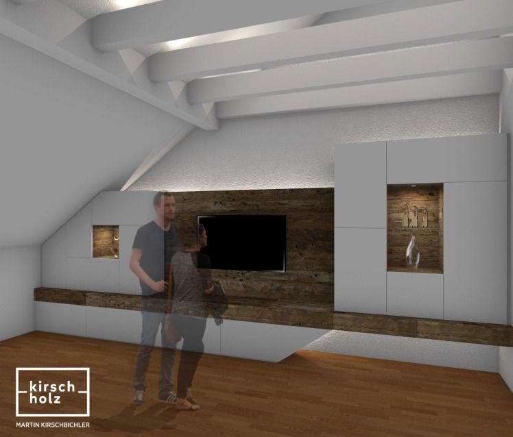 Elegant Altholz, Wohnzimmer, TV Wand, Interiordesign