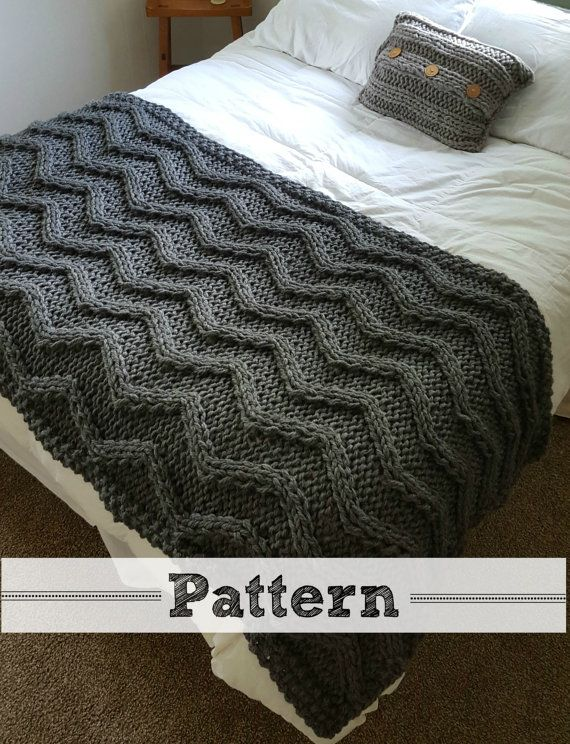 Chevron Cable Knit Blanket PATTERN | Tejidos | Pinterest | Tejer con ...