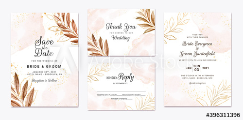 Wedding Invitation Template Set With Brown Leaves Decoration And W Wedding Invitation Templates Floral Wedding Invitation Card Wedding Invitation Card Template