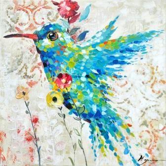 Trendykunst presenteert dit prachtige schilderij van een kolibrie. Olieverf schilderijen zijn met de hand geschilderd op doek.