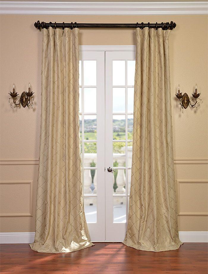 Carneros Brut Hand Sewn Pintuck Faux Silk Curtain