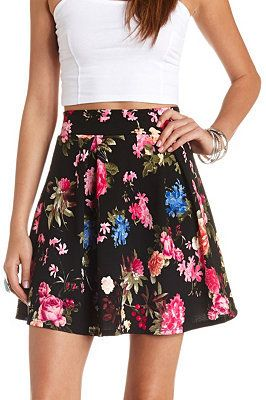 $22, Red and Black Floral Skater Skirt: Charlotte Russe Floral Print Pleated Skater Skirt. Sold by Charlotte Russe. Click for more info: https://lookastic.com/women/shop_items/122906/redirect