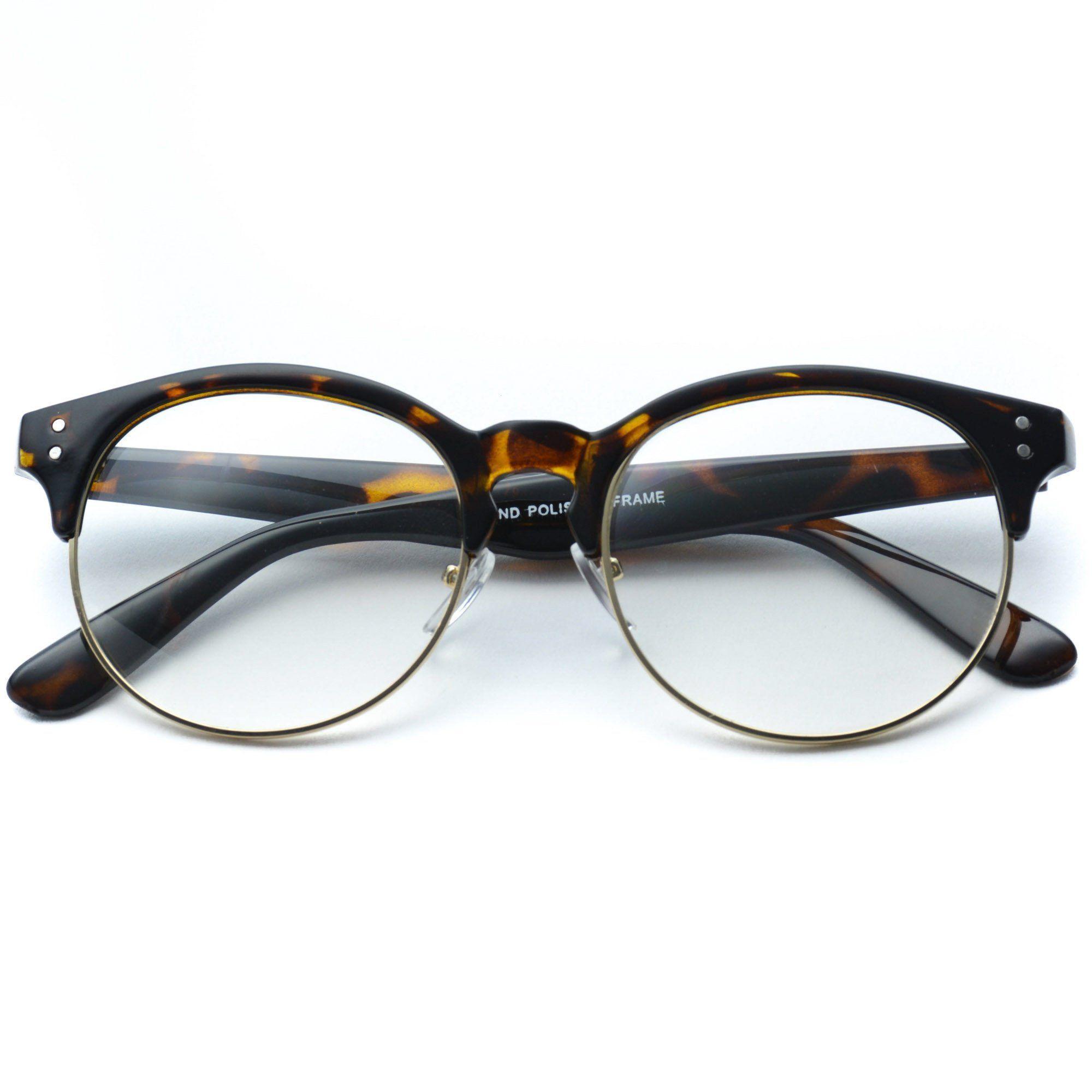 c7b3e800f79 Winter - Clear Semi-Rimless Round Retro Non Prescription Glasses ...